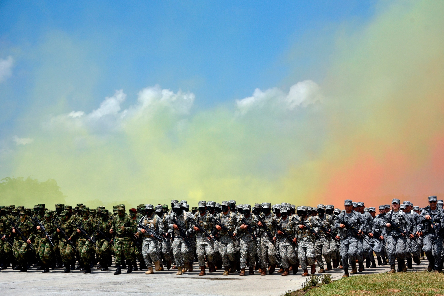 Colombian soldiers take part in a demonstration by the military forces at President Ivan Duque's launch of the new national security and defense policy at the Tolemaida military fort in Cundinamarca department on Feb. 6. (Guillermo Legaria/AFP/Getty Images)
