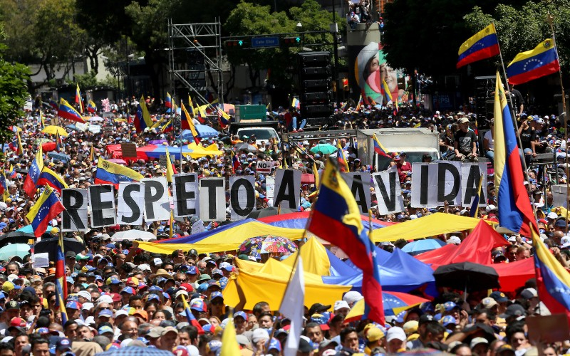 Supporters of Venezuelan opposition leader Juan Guaidó gather in Caracas Feb. 12. (Edilzon Gamez/Getty Images)