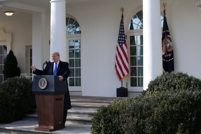 U.S. President Donald Trump speaks during a Rose Garden event at the White House on Feb. 15 in Washington, DC. (Alex Wong/Getty Images)