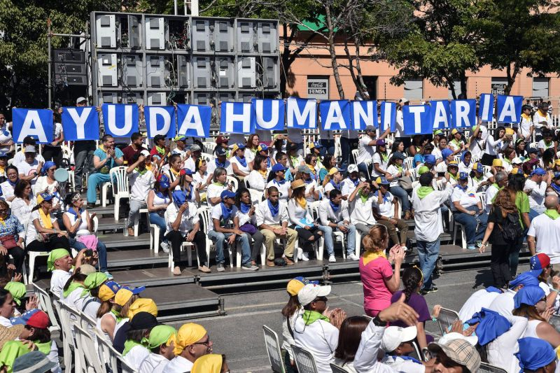 Supporters of Venezuelan opposition leader Juan Guaidó gather at a rally in Caracas on Feb. 16. (Yuri Cortez/AFP/Getty Images)