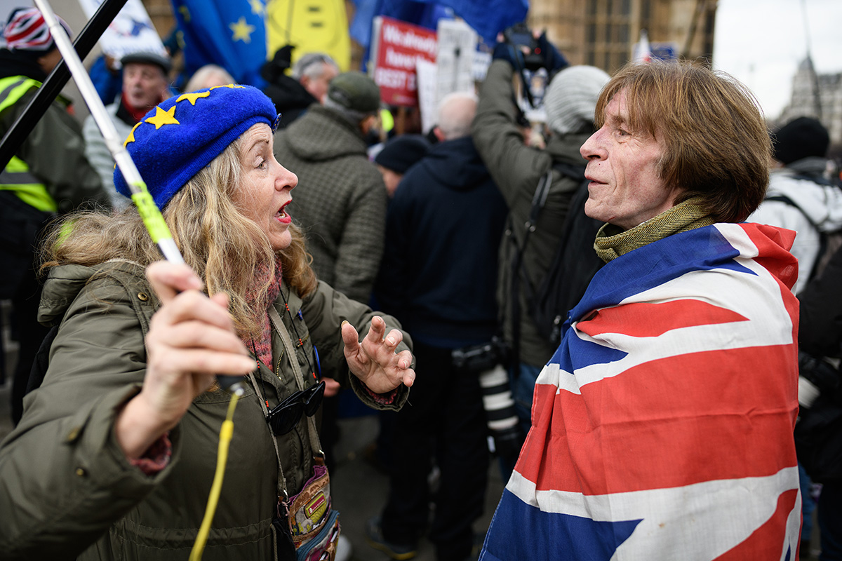Pro-EU and pro-Brexit protesters demonstrate near the Houses of Parliament in London on Jan. 29. (Leon Neal/Getty Images)