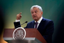 Mexican President Andrés Manuel López Obrador speaks during a press conference in the seventh military zone in Monterrey, Nuevo León, on Feb. 20. (Julio Cesar Aguilar/AFP/Getty Images)