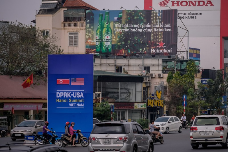 A public signboard near the U.S. Embassy on Feb. 21 in Hanoi, Vietnam. (Linh Pham/Getty Images)