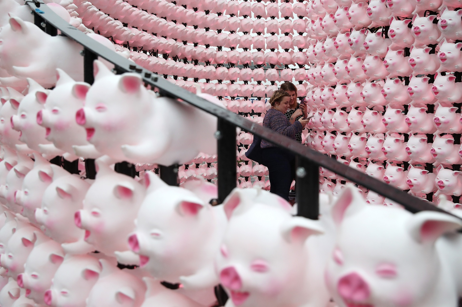 People pose inside the Spiral Pig zodiac lantern—in celebration of the Year of the Pig—by artist John Deng in Sydney on Feb. 1.  The Sydney Lunar Festival has evolved from a small community celebration in Chinatown 23 years ago to now attract more than 1.3 million visitors from all over the world. (Cameron Spencer/Getty Images)