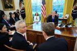 U.S. President Donald Trump discusses the pending U.S.-China trade deal with Chinese Vice Premier Liu He and U.S. Trade Representative Robert Lighthizer in the White House on Feb. 22. (Mandel Ngan/AFP/Getty Images)