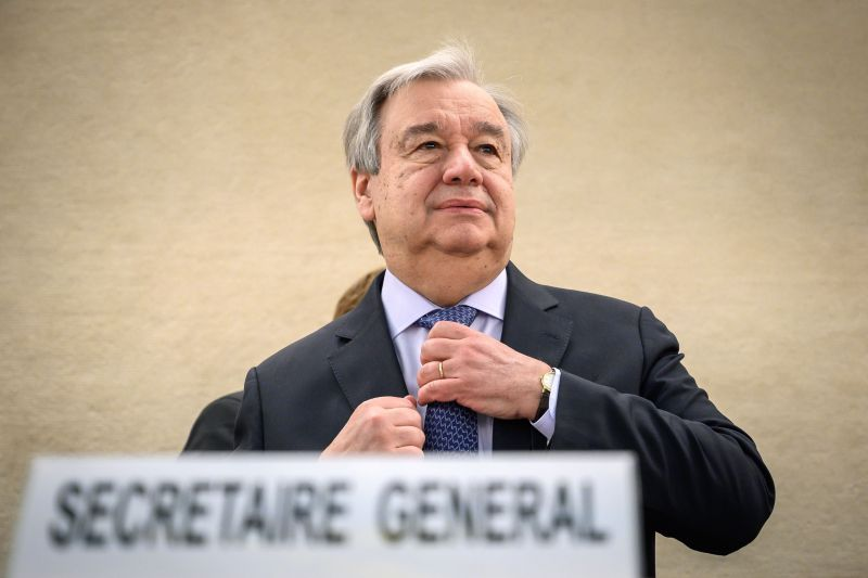 UN Secretary-General Antonio Guterres adjusts his tie as he arrives at the opening day of the 40th session of the United Nations (UN) Human Rights Council on Feb. 25, 2019 in Geneva. (Fabrice Cofferini/AFP/Getty Images)