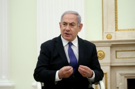Israeli Prime Minister Benjamin Netanyahu speaks in Moscow on Feb. 27. (Mikhail Svetlov/Getty Images)