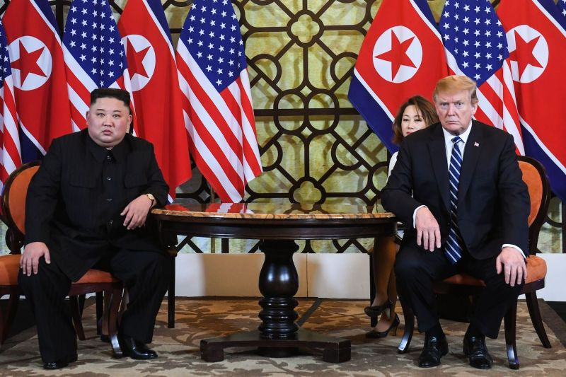 U.S. President Donald Trump and North Korean leader Kim Jong Un hold a meeting during the second U.S.-North Korea summit in Hanoi on Feb. 28. (Saul Loeb/AFP/Getty Images)