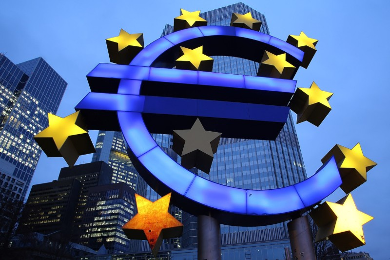 The symbol of the euro, the currency of the eurozone, stands illuminated in Frankfurt, Germany, on Jan. 21, 2015. (Hannelore Foerster/Getty Images)