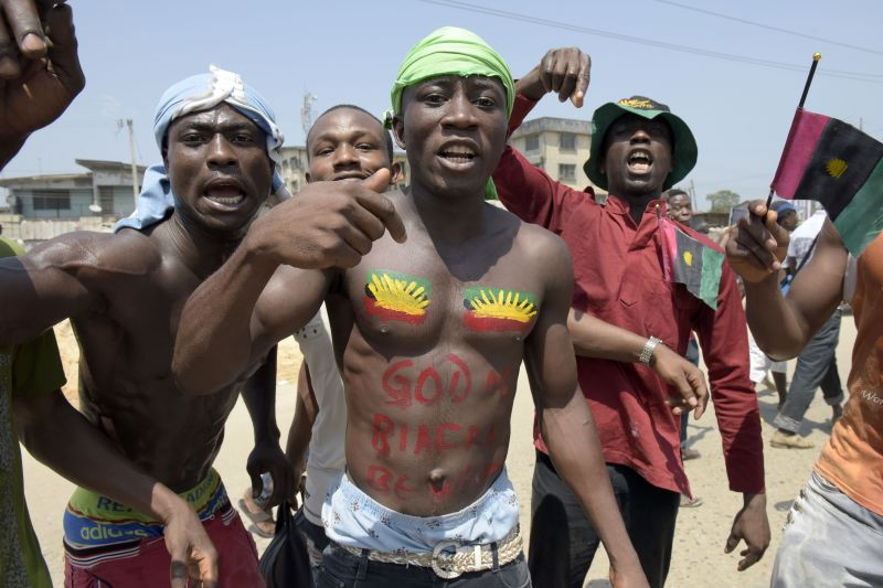 Pro-Biafra supporters shout slogans in Aba, southeastern Nigeria, during a protest calling for the release of a key activist on Nov. 18, 2015. (Pius Utomi Ekepi/AFP/Getty Images)