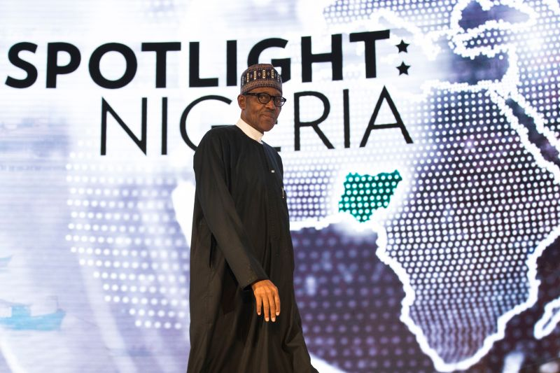 Nigerian President Muhammadu Buhari arrives to speak at the U.S.-Africa Business Forum at the Plaza Hotel on Sept. 21, 2016 in New York City. (Drew Angerer/Getty Images)