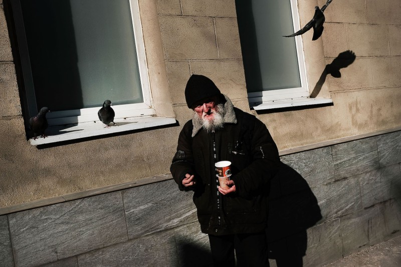 A Russian man pauses on a street in central Moscow on March 10, 2017. (Spencer Platt/Getty Images)