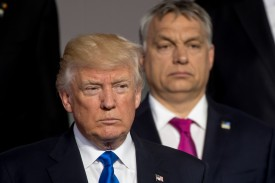 U.S. President Donald Trump (left) and Hungarian Prime Minister Viktor Orban stand at a NATO summit in Brussels on May 25, 2017.  (Danny Gys/AFP/Getty Images)