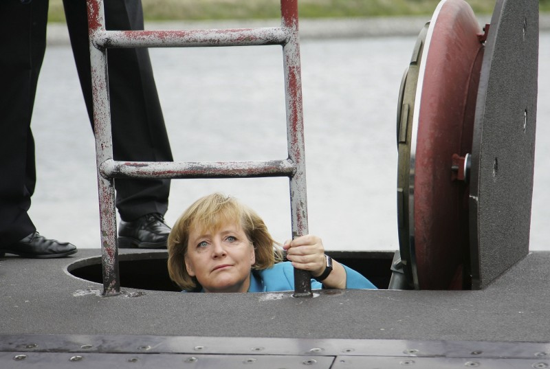 German Chancellor Angela Merkel tours the German submarine, U33, on Aug. 31, 2006 in Warnemuende, Germany. (Andreas Rentz/Getty Images)