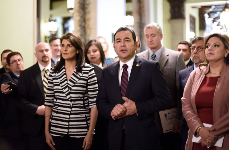 Guatemalan President Jimmy Morales at a press conference with U.S. Ambassador to the United Nations Nikki Haley in Guatemala City on Feb. 28, 2018. (Johan Ordoñez/AFP/Getty Images)