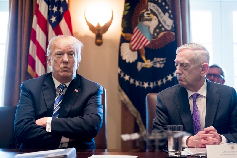 U.S. President Donald Trump and then-Defense Secretary James Mattis attend a cabinet meeting in the White House on March 8, 2018. (Michael Reynolds-Pool/Getty Images)