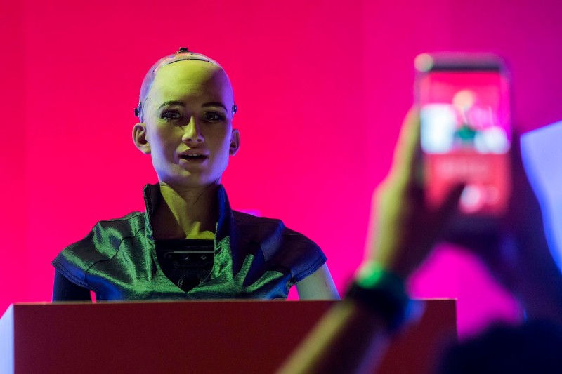 Sophia the Robot is seen onstage before a discussion by Hanson Robotics about Sophia's multiple intelligences and artificial intelligence at the RISE Technology Conference in Hong Kong on July 10, 2018. (Isaac Lawrence/AFP/Getty Images)