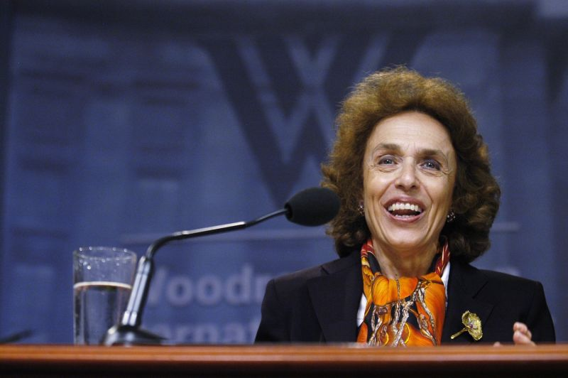 Haleh Esfandiari speaks during a press conference in Washington on Sept. 10, 2007. (Stephanie Kuykendal/Getty Images)