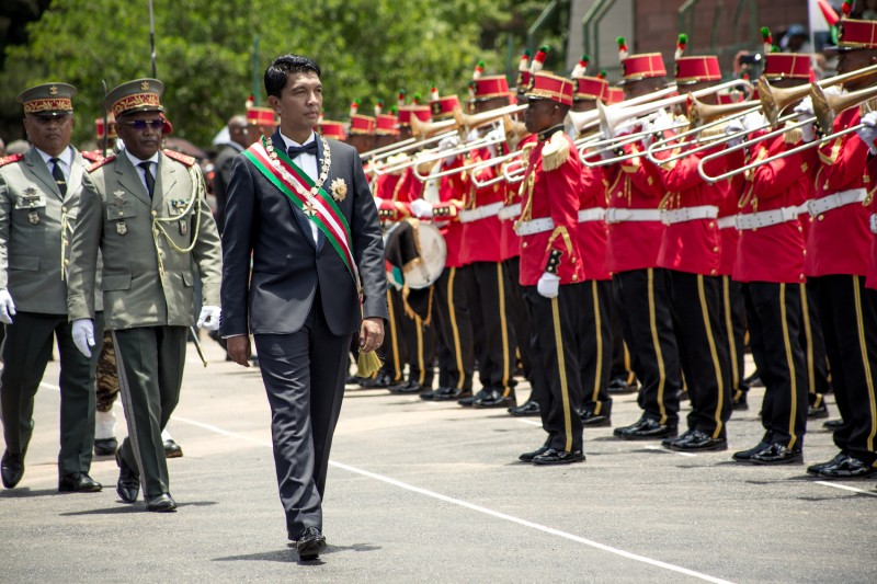 President Andry Rajoelina reviews the troops during his inauguration ceremony  Mahamasina Stadium in Antananarivo, Madagascar, on Jan. 19.