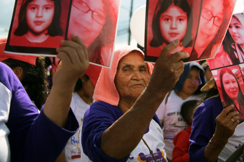 Women march during International Day for the Elimination of Violence Against Women in San Salvador, El Salvador, on Nov. 26, 2018. (Marvin Recinos/AFP/Getty Images)