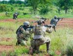 Idaho Army National Guard and Montana Army National Guard Soldiers from the 116th Cavalry Brigade Combat Team conduct a live-fire exercise with Royal Thai Army Soldiers at the Cavalry Center in Thailand's Saraburi province on Aug. 28, 2018. (Department of Defense Photo)