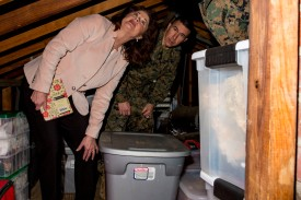 Phyllis Bayer, then the assistant secretary of the Navy for energy, installations, and the environment, visited Marine Corps Base Camp Lejeune residential communities to assess on going restoration efforts on the installation. (U.S. Marine Corps photo by Lance Cpl. Isaiah Gomez)