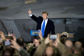 U.S. President Donald Trump speaks to service members at Joint Base Elmendorf-Richardson, Alaska, on Feb. 28. (U.S. Air Force photo by Staff Sgt. Westin Warburton)