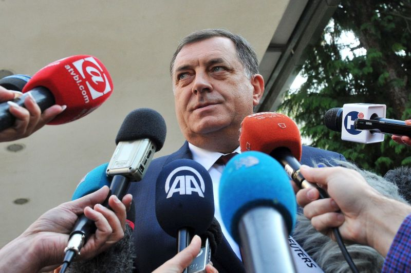 Milorad Dodik, president of Bosnia and Herzegovina's Republika Srpska entity, addresses media after casting his vote, on September 25, 2016, at one of local voting stations in Western-Bosnian town of Laktasi.
