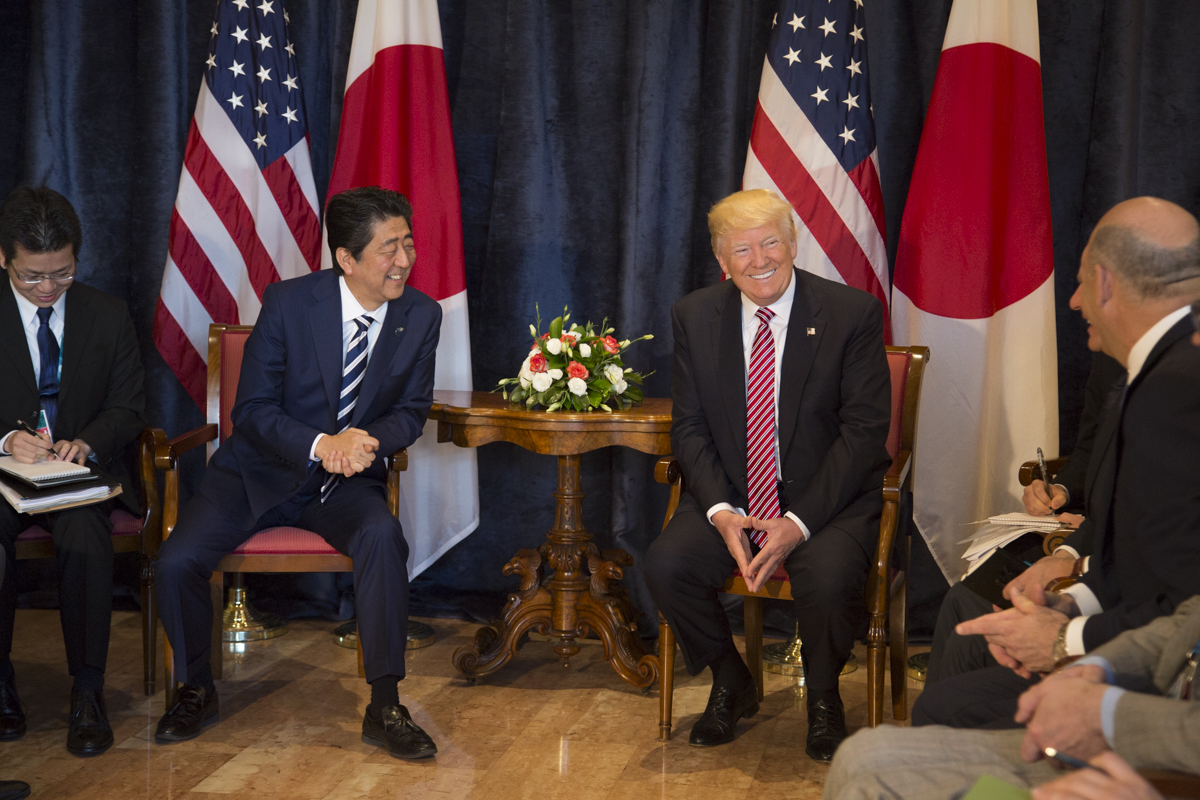 U.S. President Donald Trump meets Prime Minister Abe at the 43rd G7 Summit. U.S. DEPARTMENT OF STATE