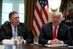 U.S. President Donald Trump speaks alongside Secretary of State Mike Pompeo during a cabinet meeting at the White House in Washington on Aug. 16, 2018. (Oliver Contreras-Pool/Getty Images)