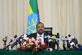 Ethiopian Prime Minister Abiy Ahmed holds a press conference in Addis Ababa on Aug. 25, 2018. (Michael Tewelde/AFP/Getty Images)