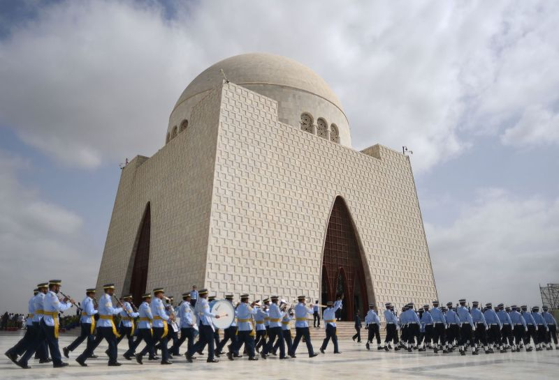 Pakistan Air Force cadets march next to the mausoleum of the country's founder, Muhammad Ali Jinnah, to mark Defense Day in Karachi on Sept. 6, 2018. (Asif Hassan/AFP/Getty Images)