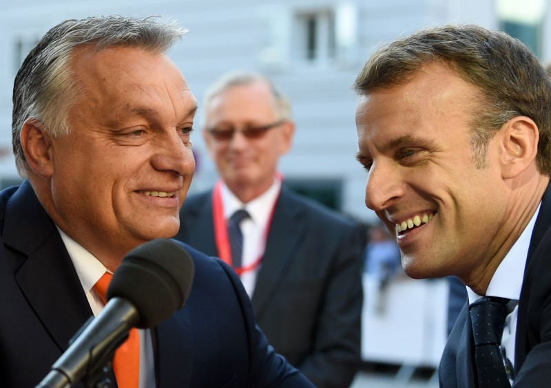 Hungary's Prime Minister Viktor Orban and France's President Emmanuel Macron at the Mozarteum University in Salzburg, Austria, on Sept. 20, 2018.  (Christof Stache/AFP/Getty Images)