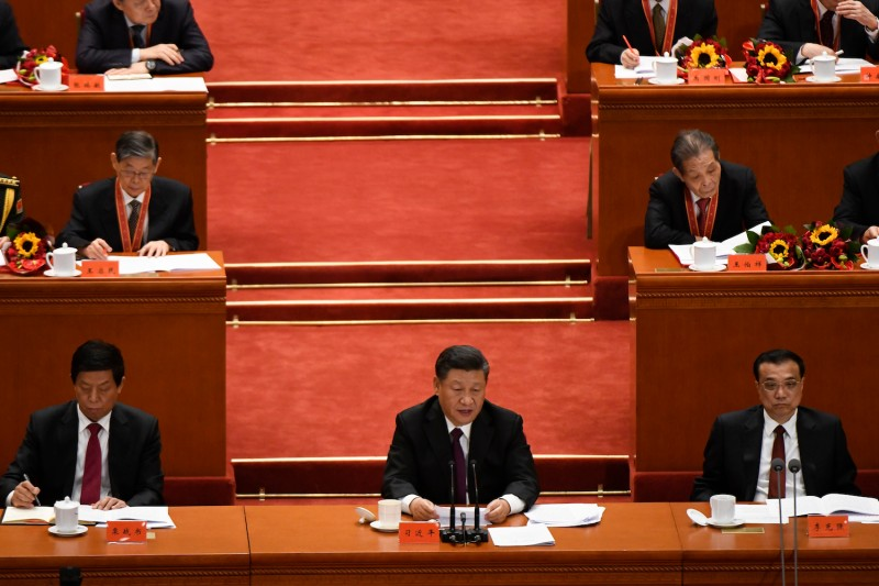 "Chinese President Xi Jinping gives a speech during the celebration marking the 40th anniversary of China's ""reform and opening up"" policy in Beijing on Dec. 18, 2018. (Wang Zhao/AFP/Getty Images)"