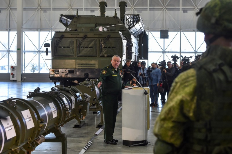 Russian Defense Ministry officials show off the Russia's 9M729 cruise missile at the military Patriot Park outside Moscow on Jan. 23. (Vasily Maximov/AFP/Getty Images)