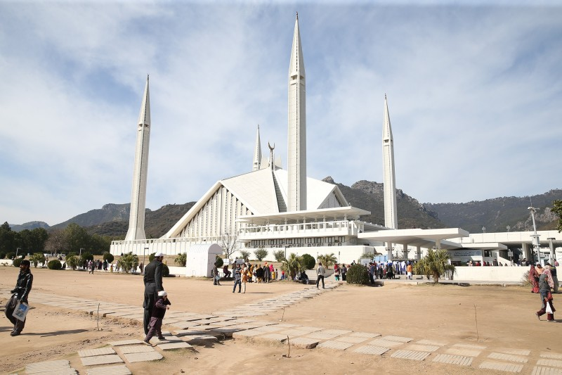 Construction of the Faisal Mosque in the foothills of Margalla Hills of Islamabad, Pakistan, began in 1976 after a grant from Saudi King Faisal, whose name the mosque bears. (Muhammed Semih Ugurlu/Anadolu Agency/Getty Images)