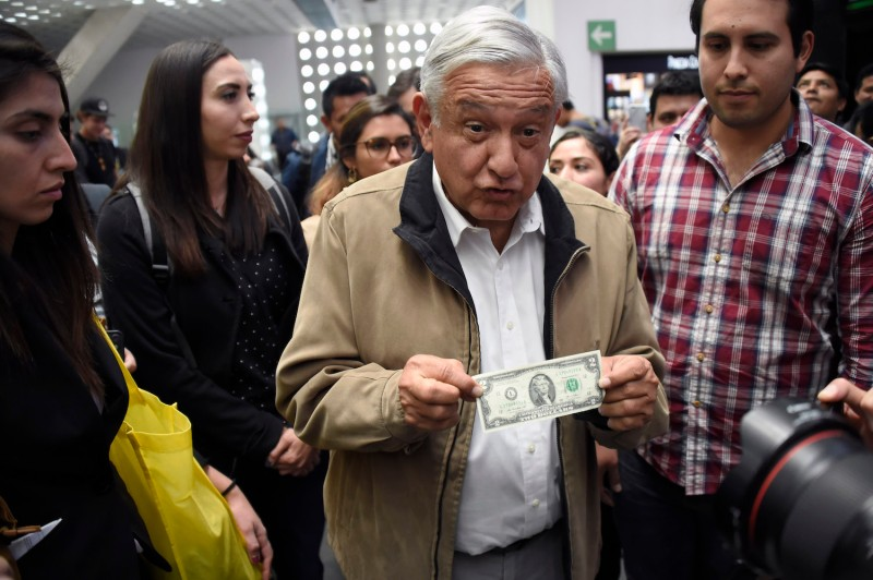 Mexican President Andrés Manuel López Obrador shows a two-dollar bill in Mexico City on Feb. 15. (Alfredo Estrella/AFP/Getty Images)