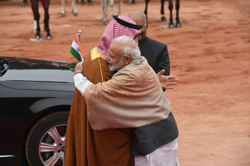 Saudi Crown Prince Mohammed bin Salman, left, and India's Prime Minister Narendra Modi embrace during a ceremonial reception in New Delhi on Feb. 20. (Prakash Singh/AFP/Getty Images)