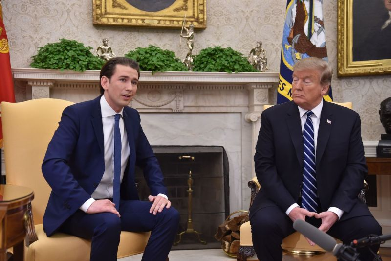 U.S. President Donald Trump meets with Austrian Chancellor Sebastian Kurz at the White House on Feb. 20. (Nicholas Kamm/AFP/Getty Images)
