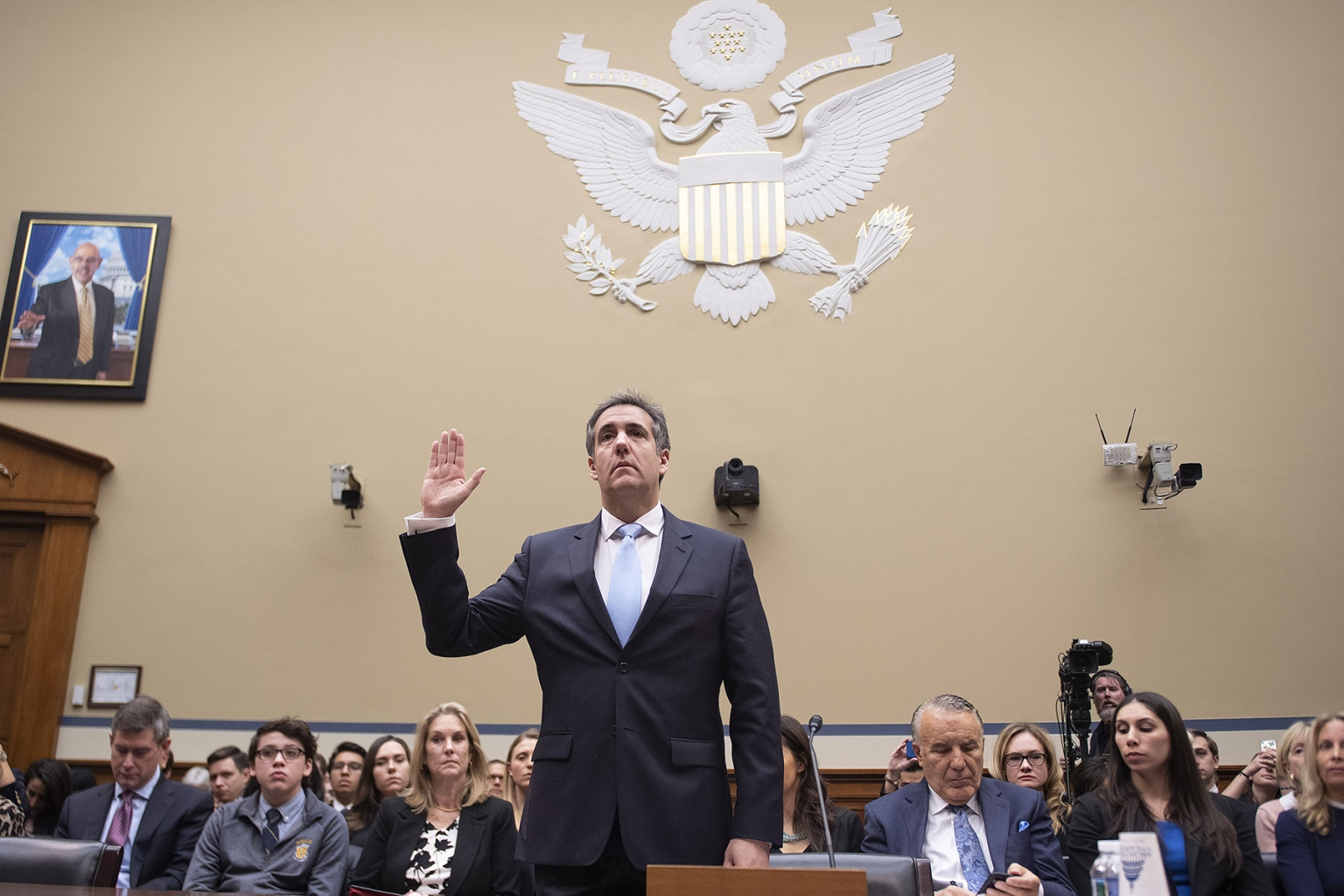 Michael Cohen, U.S. President Donald Trump's former personal attorney, is sworn in to testify before the House Oversight and Reform Committee in Washington on Feb. 27. JIM WATSON/AFP/Getty Images