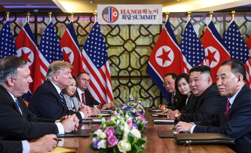 U.S. President Donald Trump and North Korea's leader Kim Jong Un hold a bilateral meeting during the second U.S.-North Korea summit in Hanoi on Feb. 28. (Saul Loeb/AFP/Getty Images)