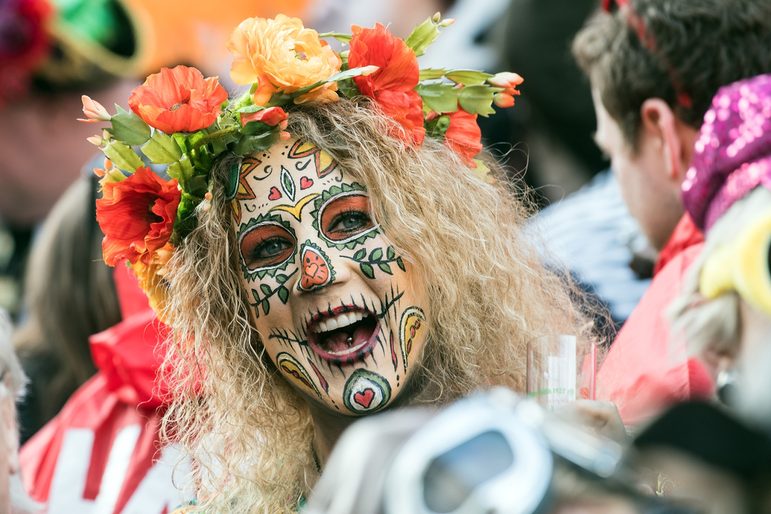 People celebrate the start of the hot carnival season at the Women's Carnival in Cologne, Germany, on Feb. 28. FEDERICO GAMBARINI/AFP/Getty Images