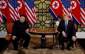 U.S. President Donald Trump (R) and North Korean leader Kim Jong-un (L) sit during their second summit meeting at the Sofitel Legend Metropole hotel on February 28, 2019 in Hanoi, Vietnam.  (Photo by Vietnam News Agency/Handout/Getty Images)