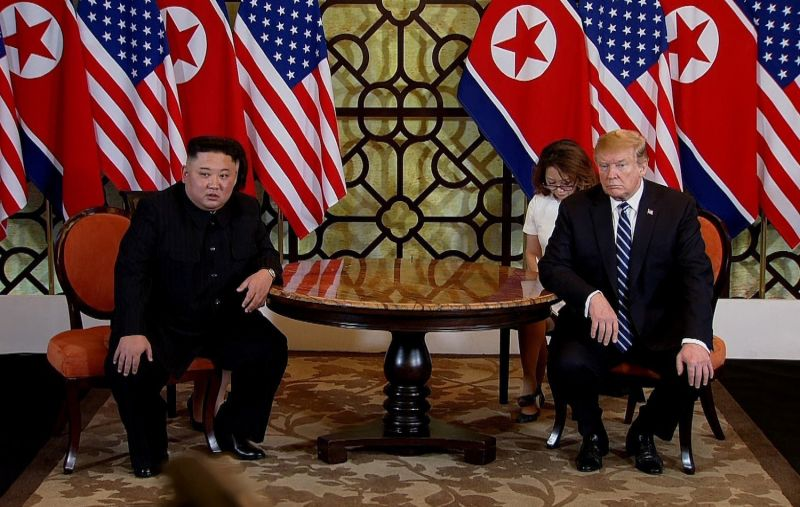 U.S. President Donald Trump and North Korean leader Kim Jong Un during their second summit in Hanoi on Feb. 28. (Vietnam News Agency/Handout/Getty Images)
