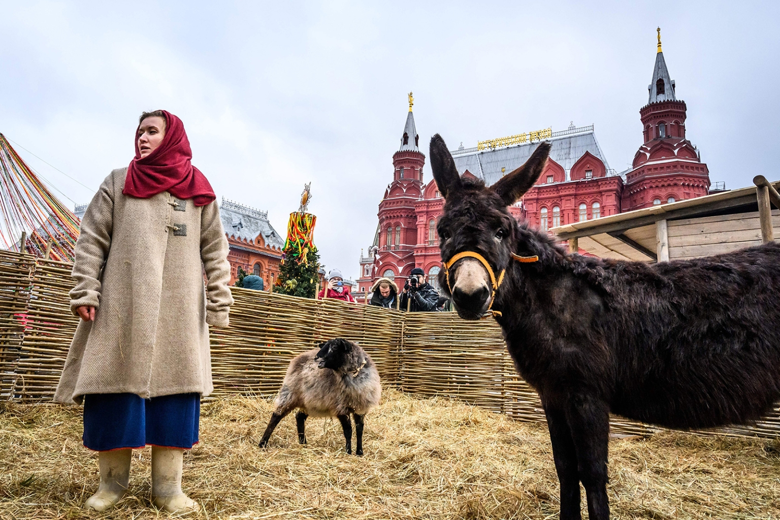 A woman dressed in a traditional costume cares for farm animals in an enclosure set up for the Shrovetide spring festival outside the Kremlin in Moscow on March 1. MLADEN ANTONOV/AFP/Getty Images