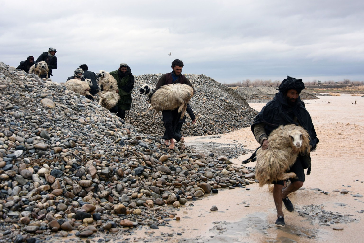 Afghan villagers carry sheep through a flood-affected area in the Arghandab district of Kandahar province on March 2. At least 20 people were killed by flash floods as heavy rains swept away homes and vehicles. JAVED TANVEER/AFP/Getty Images
