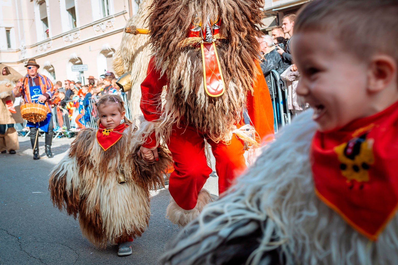 "Children dressed as traditional Slovenian ethnographic characters ""Kurents"" perform during the International Carnival Festival in Ptuj, Slovenia, on March 3. JURE MAKOVEC/AFP/Getty Images"