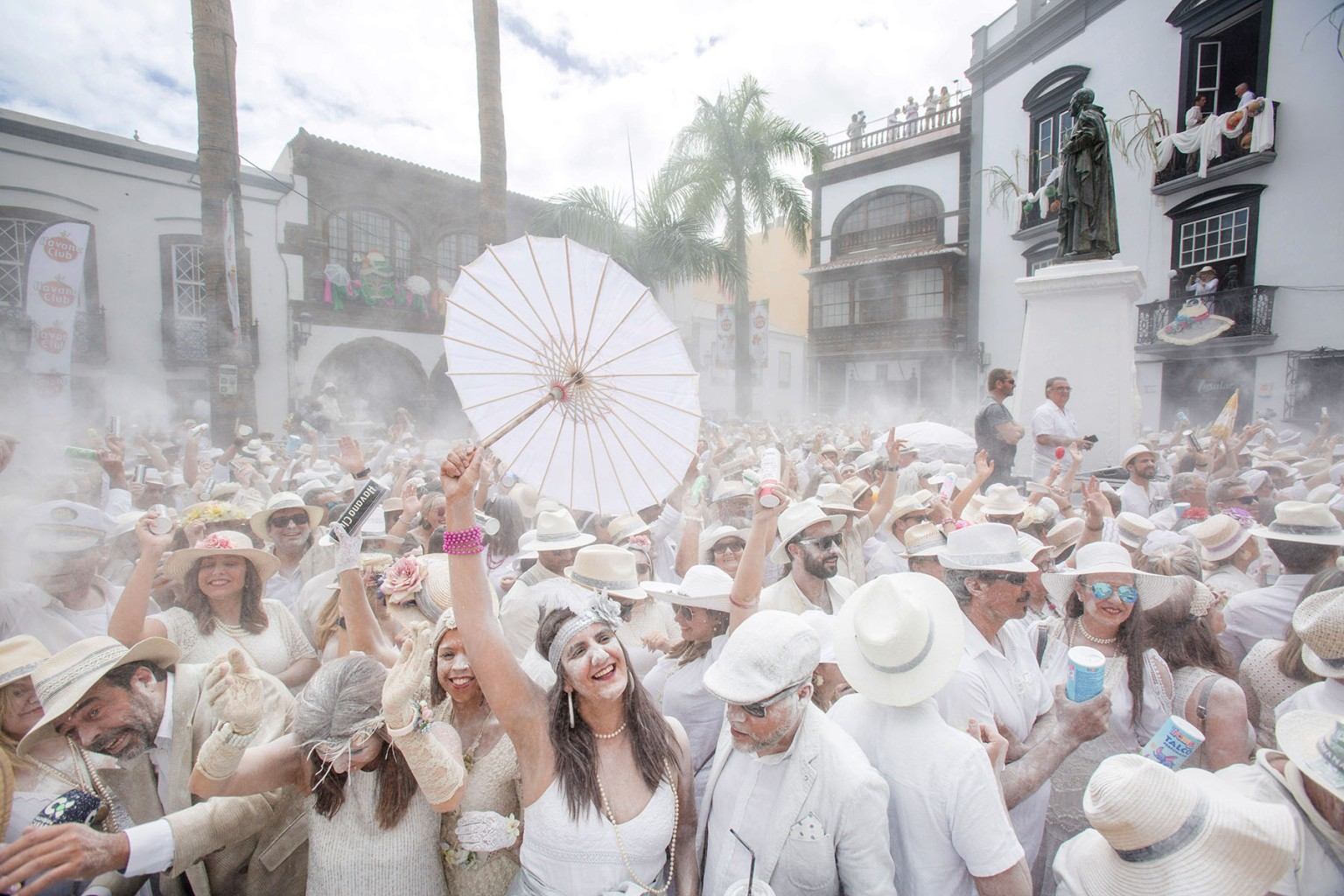 "Revelers covered in talcum powder take part in ""Los Indianos"" street carnival in Santa Cruz de la Palma, on the Spanish Canary island of La Palma, on March 4. DESIREE MARTIN/AFP/Getty Images"
