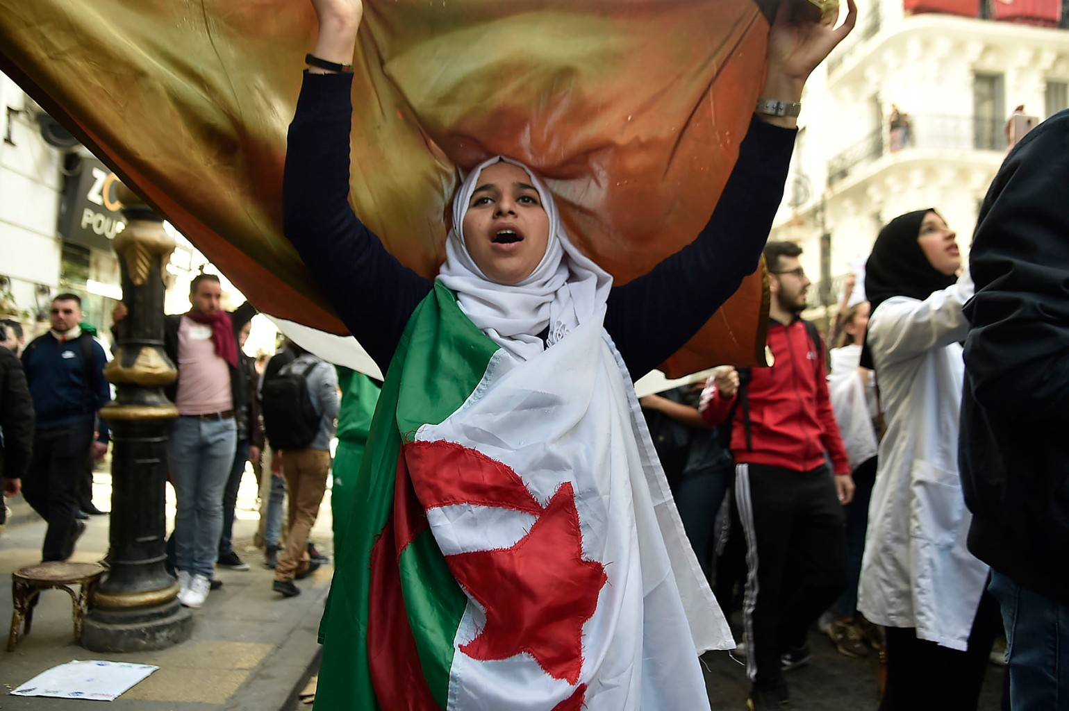 An Algerian student demonstrates in Algiers on March 5. RYAD KRAMDI/AFP/Getty Images