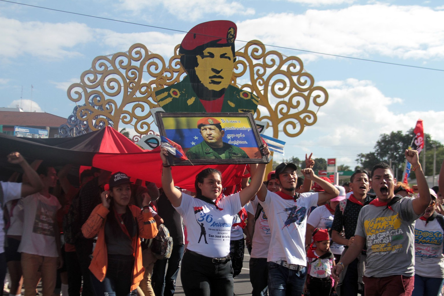 Sandinista supporters march in homage to Venezuelan late president Hugo Chavez on the sixth anniversary of his death in Managua Nicaragua, on March 5. MAYNOR VALENZUELA/AFP/Getty Images